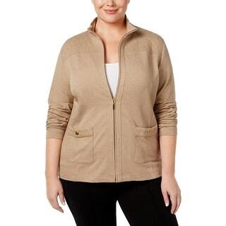 Karen Scott Womens Plus Jacket Textured Quilted