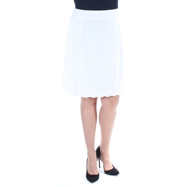 333258057 Shop TOMMY HILFIGER Womens Ivory Zippered Scalloped Knee Length A-Line Wear  To Work Skirt Size: 0 - Free Shipping On Orders Over $45 - Overstock -  23490754