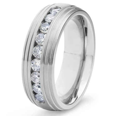 Men's Titanium Satin Finish Channel Set Cubic Zirconia Ring (8 mm) - White