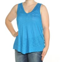 INC Womens Blue Sleeveless V Neck Top  Size: XL