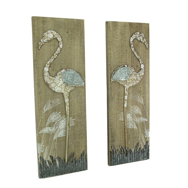 Rustic Fl Flamingo 2 Piece Wood