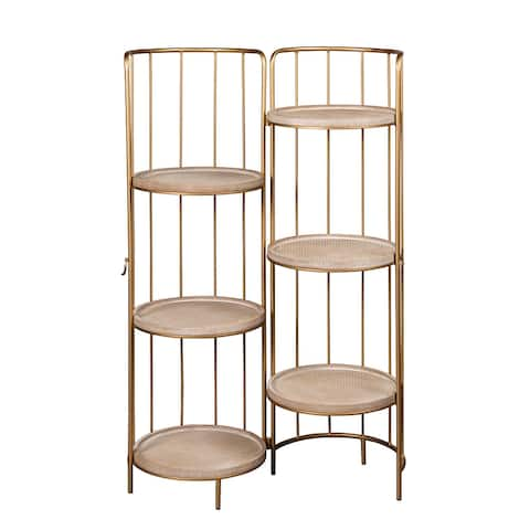 Odette Retractable and Portable Round Bookcase Bookshelf, 43.5 Inch Tall, Natural Brown and Gold
