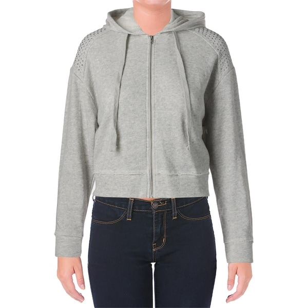 Guess Womens Hoodie Heathered Cropped