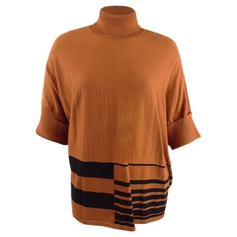 Alfani Womens Sweater Brown Size Medium M Stripe Turtleneck Pullover