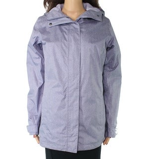Columbia Womens Raincoat Blue Size Small S Hooded Full Zip Snap Button