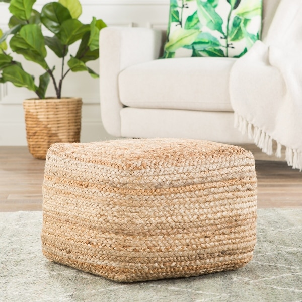 The Curated Nomad Camarillo Modern Beige Cube Shape Jute Pouf. Opens flyout.