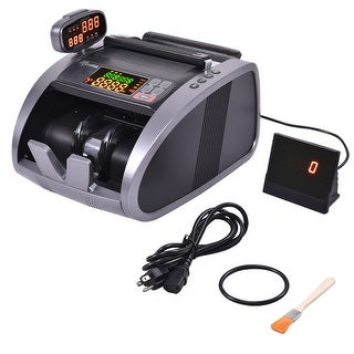 Costway Cash Currency Money Counter Automatic Machine Counterfeit Bill Detector UV IR MG - Black