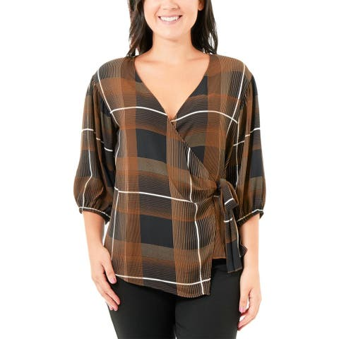 NY Collection Womens Wrap Top Plaid Surplice Neck - PL