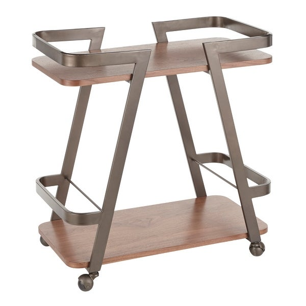 Carbon Loft Whitehall Industrial Wood and Metal Bar Cart