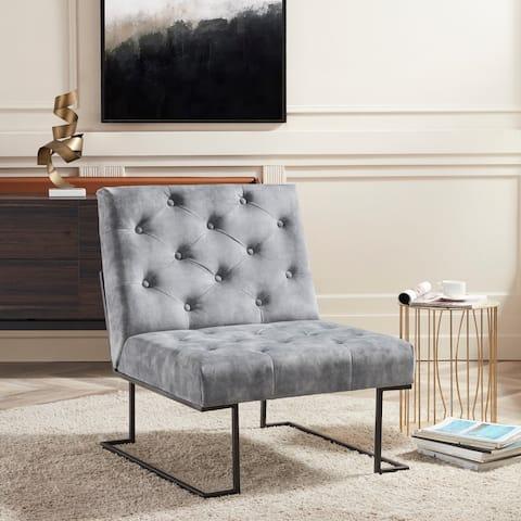 Corvus Savannah Tufted Velvet Upholstered Lounge Accent Chair