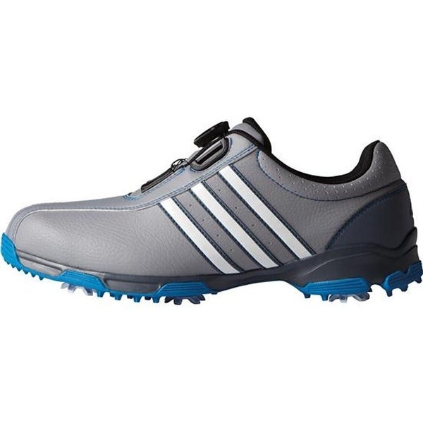 3f42553c99ff Shop Adidas Men s 360 Traxion BOA Light Onix White Shock Blue Golf Shoes  F33448 - Free Shipping Today - Overstock - 19576930