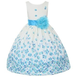 Kids Dream Little Girls Turquoise Daisy Special Occasion Dress 2T-4T