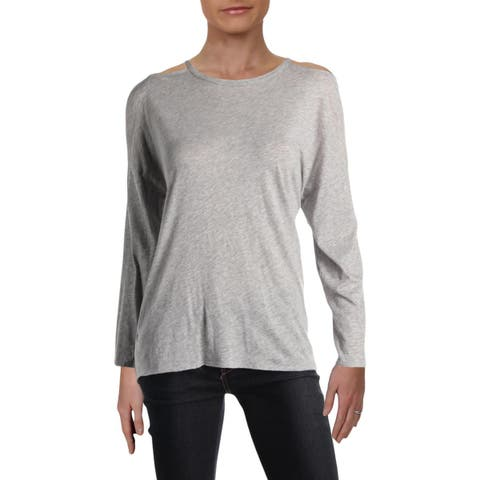 Michelle by Comune Womens Rockmart Pullover Top Cold Shoulder Heathered
