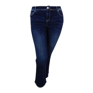 INC International Concepts Women's Plus Size Slim Tech Bootcut Jeans