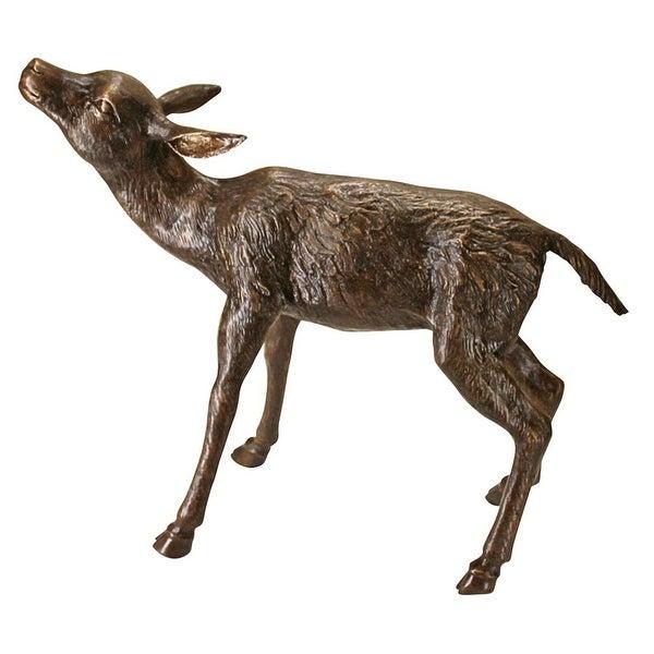 Design Toscano Standing Baby Fawn Deer Cast Bronze Garden Statue