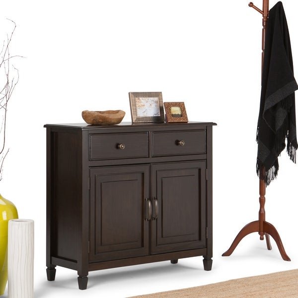 """WYNDENHALL Hampshire SOLID WOOD 40 inch Wide Transitional Entryway Storage Cabinet - 40""""w x 15""""d x 36"""" h. Opens flyout."""
