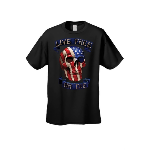 Live Free Or Die Skull Red White Blue American Flag Colors Liberty Men/'s T-Shirt