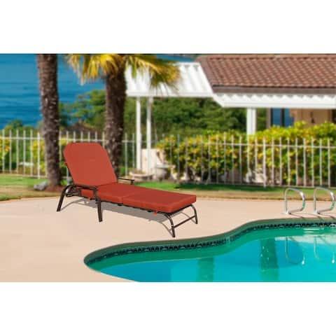 Kozyard Maya Outdoor Chaise Lounge Weather & Rust Resistant Steel Chair