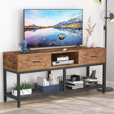 65-inch Industrial TV Stand Console Entertainment Center with Cabinets