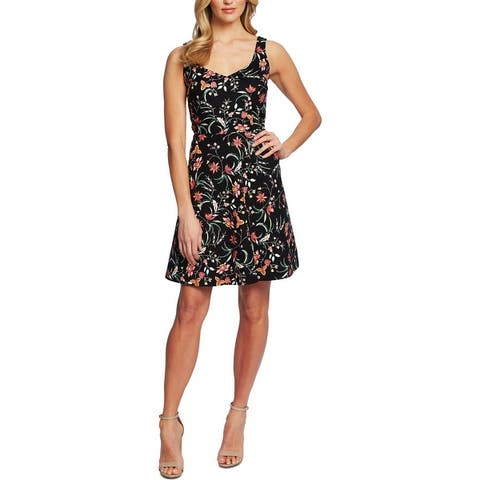 CeCe Womens Party Dress Floral Fit & Flare - Rich Black