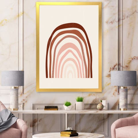 Designart 'Terracotta Minimalist Boho Rainbow I' Modern Framed Art Print