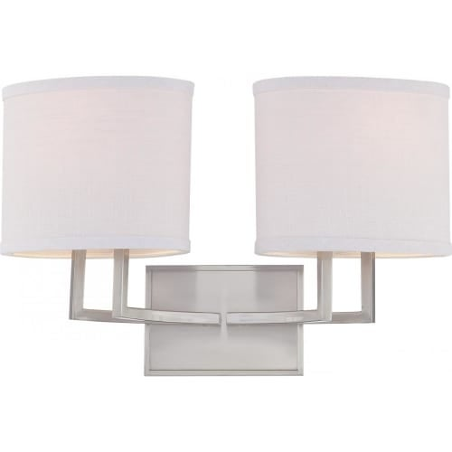 Nuvo Lighting 60/4752 Gemini Two Light Bathroom Fixture with Slate Gray Fabric Shades - Grey