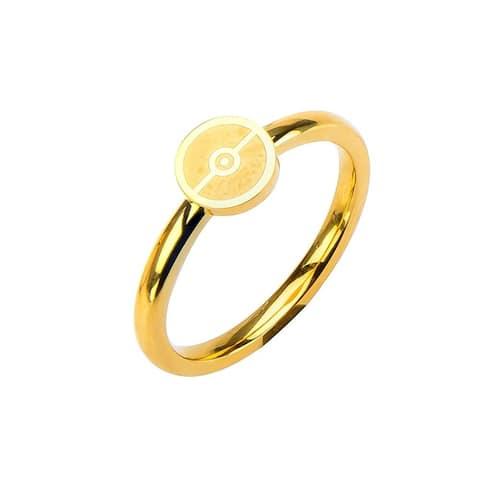 Pokemon Pokeball Gold Stainless Steel Women's Ring, Size 8