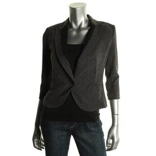 BCX Womens Juniors Pattern Contrast Trim One-Button Blazer - XS