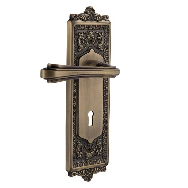 """Nostalgic Warehouse EADFLR_PRV_238_KH Fleur Privacy Door Lever Set with Egg & Dart Rose and Decorative Keyhole for 2-3/8"""""""