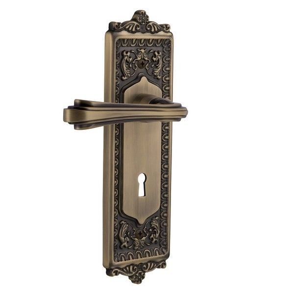 Nostalgic Warehouse EADFLR_SD_KH_RH Fleur Right Handed Non-Turning One-Sided Door Lever with Egg & Dart Rose and Decorative
