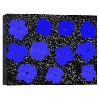"""PTM Images 9-124864  PTM Canvas Collection 10"""" x 8"""" - """"Blue Polka Flower"""" Giclee Flowers Art Print on Canvas"""
