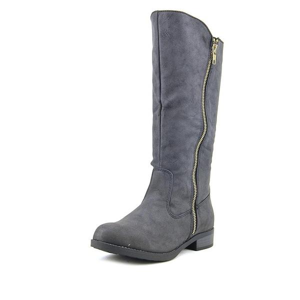 Qupid Turner-17   Round Toe Leather  Mid Calf Boot