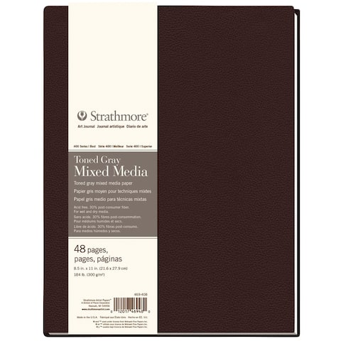 Strathmore st469-408 hb toned mixed media gray journal 8.5 x 11