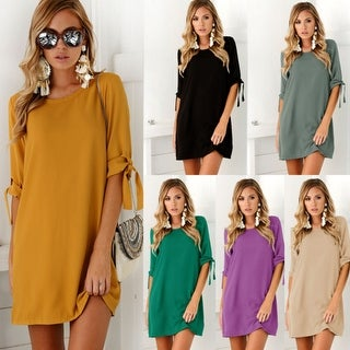 Women's Round Neck Short Sleeve Casual Loose Party Solid Dress