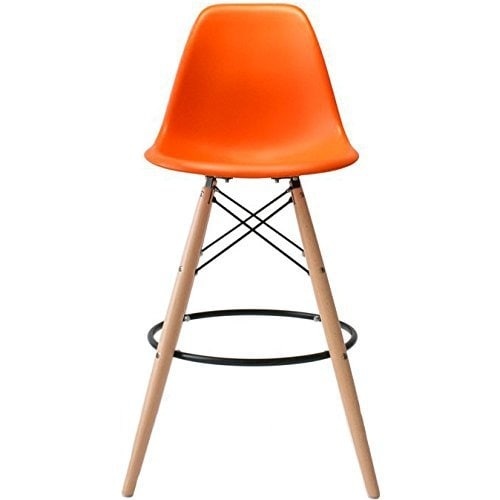 2xhome   28 Inch Plastic Chair DSW Orange Counter Stool Bar Stool