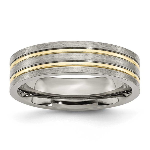 Titanium Grooved Gold-plated 6mm Brushed & Polished Band