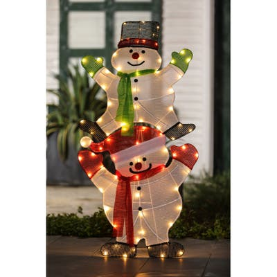 """Lighted Stacked Snowman Yard Decoration - Green/Red/White - 50"""" H x 25"""" W x 2"""" D"""