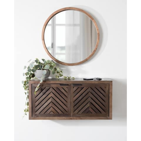 Kate and Laurel Mezzeta Decorative Wood Wall Cabinet - 30x10x14
