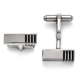Chisel Stainless Steel Polished Antiqued Inlay Cuff Links