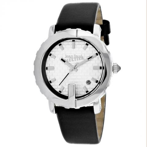 Jean Paul Gaultier Women's 8500515 'Classic' Black Leather Watch - White