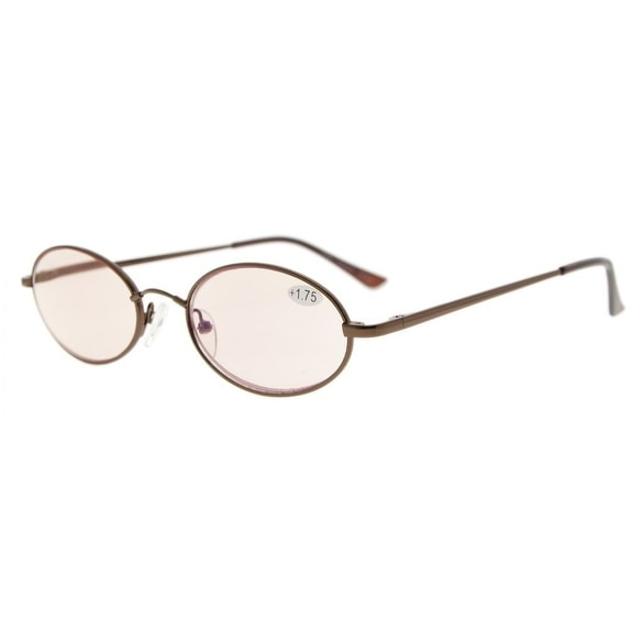 Eyekepper Titanium Memory Bridge Spring Hinges Oval Computer Reading Glasses Brown(Amber Tinted Lens,+2.50)