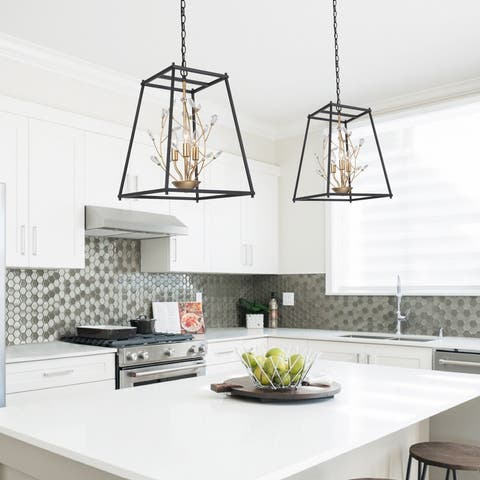 Modern 3-light Chandelier Crystal Flower Cage Pendant for Kitchen Island