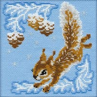 """Small Squirrel Counted Cross Stitch Kit-6""""X6"""" 15 Count"""