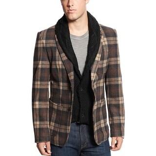Edge By WD NY Bib Flannel Plaid Blazer Jacket Brown Medium M