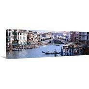 Premium Thick-Wrap Canvas entitled Bridge across a river, Rialto Bridge, Grand Canal, Venice, Italy