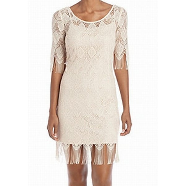 5ecc3104088 Jessica Simpson NEW Beige Metallic Fringe Women  x27 s Size 10 Sheath Dress