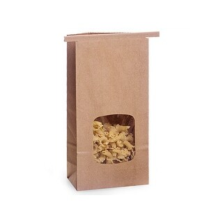 "Pack of 500, Solid 1/2 Lb Kraft Window Coffee Bags 3-3/8""X2.5""X7-3/4"" For Food Packaging"
