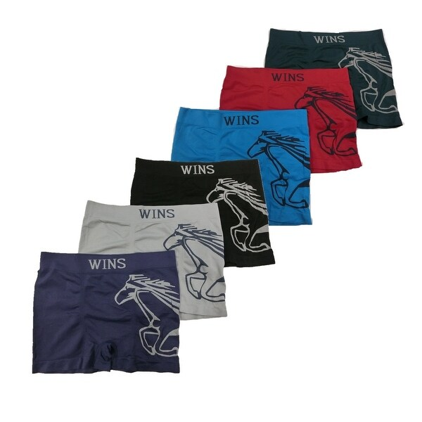 Men's 6 Pack Running Horse Print Seamless Boxer Briefs
