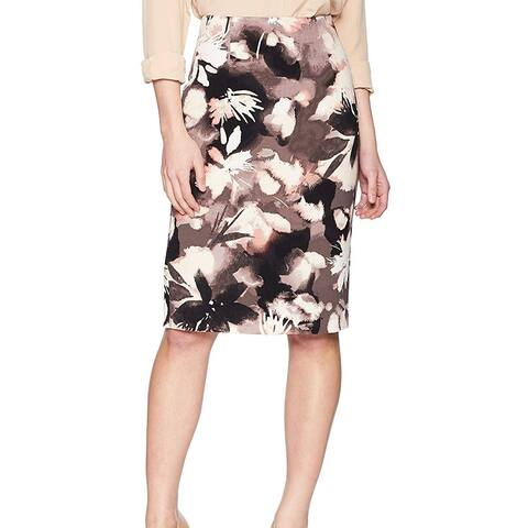 Ellen Tracy Womens Skirt Black Size 10P Petite Floral Straight Pencil