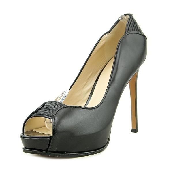 Nine West Camera Shy Peep-Toe Leather Heels